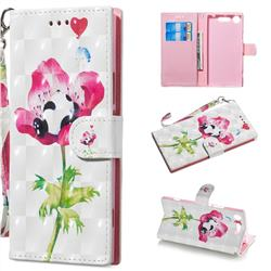 Flower Panda 3D Painted Leather Wallet Phone Case for Sony Xperia XZ1