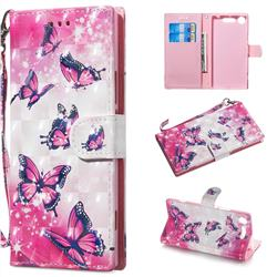 Pink Butterfly 3D Painted Leather Wallet Phone Case for Sony Xperia XZ1