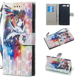 Watercolor Owl 3D Painted Leather Wallet Phone Case for Sony Xperia XZ1