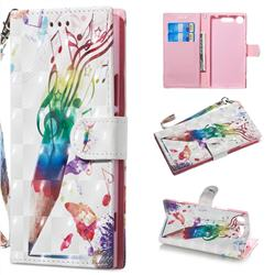 Music Pen 3D Painted Leather Wallet Phone Case for Sony Xperia XZ1