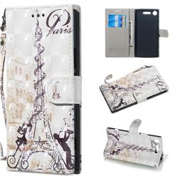 Tower Couple 3D Painted Leather Wallet Phone Case for Sony Xperia XZ1