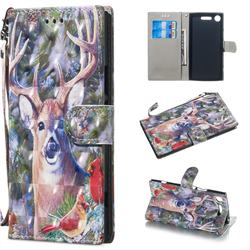 Elk Deer 3D Painted Leather Wallet Phone Case for Sony Xperia XZ1
