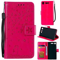 Embossing Cherry Blossom Cat Leather Wallet Case for Sony Xperia XZ1 - Rose