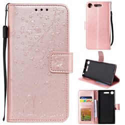 Embossing Cherry Blossom Cat Leather Wallet Case for Sony Xperia XZ1 - Rose Gold