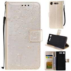 Embossing Cherry Blossom Cat Leather Wallet Case for Sony Xperia XZ1 - Golden