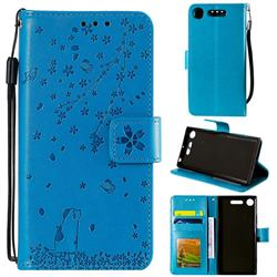 Embossing Cherry Blossom Cat Leather Wallet Case for Sony Xperia XZ1 - Blue