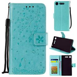 Embossing Cherry Blossom Cat Leather Wallet Case for Sony Xperia XZ1 - Green
