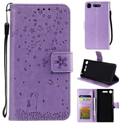 Embossing Cherry Blossom Cat Leather Wallet Case for Sony Xperia XZ1 - Purple