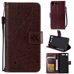 Embossing Cherry Blossom Cat Leather Wallet Case for Sony Xperia XZ1 - Brown