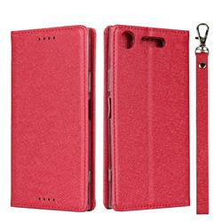 Ultra Slim Magnetic Automatic Suction Silk Lanyard Leather Flip Cover for Sony Xperia XZ1 - Red