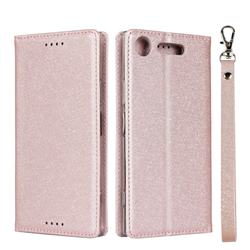Ultra Slim Magnetic Automatic Suction Silk Lanyard Leather Flip Cover for Sony Xperia XZ1 - Rose Gold