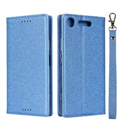 Ultra Slim Magnetic Automatic Suction Silk Lanyard Leather Flip Cover for Sony Xperia XZ1 - Sky Blue