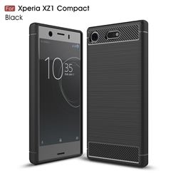 Luxury Carbon Fiber Brushed Wire Drawing Silicone TPU Back Cover for Sony Xperia XZ1 Compact (Black)