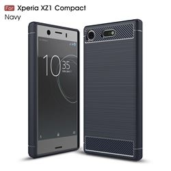 Luxury Carbon Fiber Brushed Wire Drawing Silicone TPU Back Cover for Sony Xperia XZ1 Compact (Navy)