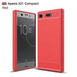 Luxury Carbon Fiber Brushed Wire Drawing Silicone TPU Back Cover for Sony Xperia XZ1 Compact (Red)