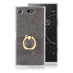 Luxury Soft TPU Glitter Back Ring Cover with 360 Rotate Finger Holder Buckle for Sony Xperia XZ1 Compact - Black