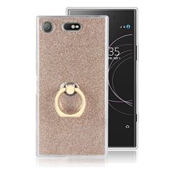 Luxury Soft TPU Glitter Back Ring Cover with 360 Rotate Finger Holder Buckle for Sony Xperia XZ1 Compact - Golden