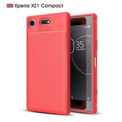 Luxury Auto Focus Litchi Texture Silicone TPU Back Cover for Sony Xperia XZ1 Compact - Red