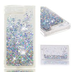 Dynamic Liquid Glitter Quicksand Sequins TPU Phone Case for Sony Xperia XZ1 Compact - Silver