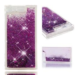 Dynamic Liquid Glitter Quicksand Sequins TPU Phone Case for Sony Xperia XZ1 Compact - Purple
