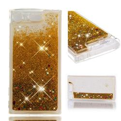 Dynamic Liquid Glitter Quicksand Sequins TPU Phone Case for Sony Xperia XZ1 Compact - Golden