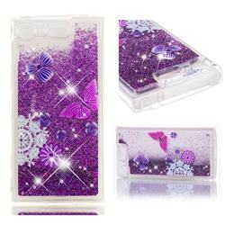 Purple Flower Butterfly Dynamic Liquid Glitter Quicksand Soft TPU Case for Sony Xperia XZ1 Compact