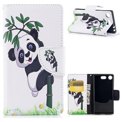 Bamboo Panda Leather Wallet Case for Sony Xperia XZ1 Compact