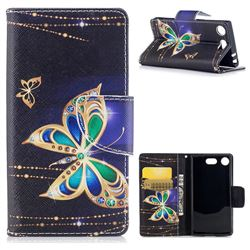 Golden Shining Butterfly Leather Wallet Case for Sony Xperia XZ1 Compact