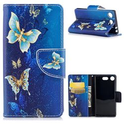 Golden Butterflies Leather Wallet Case for Sony Xperia XZ1 Compact