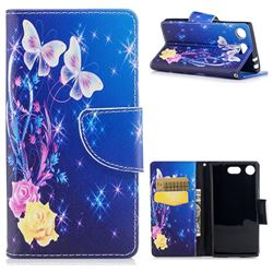 Yellow Flower Butterfly Leather Wallet Case for Sony Xperia XZ1 Compact