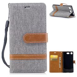 Jeans Cowboy Denim Leather Wallet Case for Sony Xperia XZ1 Compact - Gray
