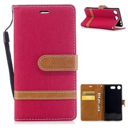 Jeans Cowboy Denim Leather Wallet Case for Sony Xperia XZ1 Compact - Red