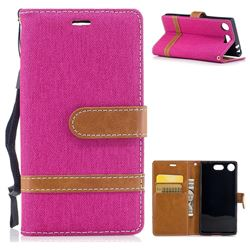 Jeans Cowboy Denim Leather Wallet Case for Sony Xperia XZ1 Compact - Rose