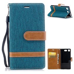 Jeans Cowboy Denim Leather Wallet Case for Sony Xperia XZ1 Compact - Green