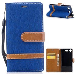 Jeans Cowboy Denim Leather Wallet Case for Sony Xperia XZ1 Compact - Sapphire