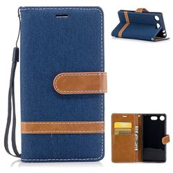 Jeans Cowboy Denim Leather Wallet Case for Sony Xperia XZ1 Compact - Dark Blue