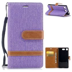 Jeans Cowboy Denim Leather Wallet Case for Sony Xperia XZ1 Compact - Purple