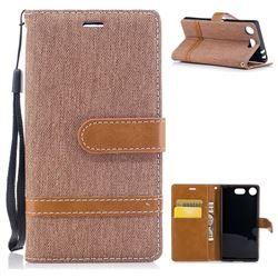 Jeans Cowboy Denim Leather Wallet Case for Sony Xperia XZ1 Compact - Brown