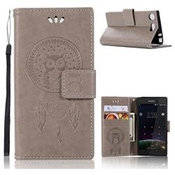 Intricate Embossing Owl Campanula Leather Wallet Case for Sony Xperia XZ1 Compact - Grey