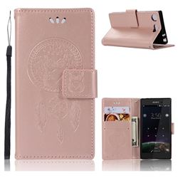 Intricate Embossing Owl Campanula Leather Wallet Case for Sony Xperia XZ1 Compact - Rose Gold