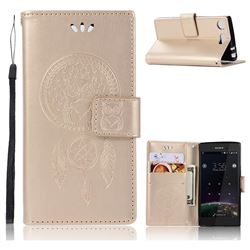 Intricate Embossing Owl Campanula Leather Wallet Case for Sony Xperia XZ1 Compact - Champagne