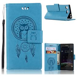 Intricate Embossing Owl Campanula Leather Wallet Case for Sony Xperia XZ1 Compact - Blue