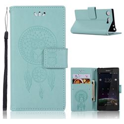 Intricate Embossing Owl Campanula Leather Wallet Case for Sony Xperia XZ1 Compact - Green