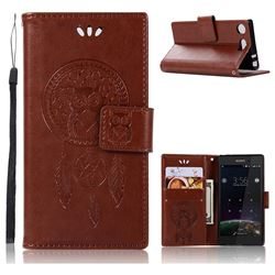 Intricate Embossing Owl Campanula Leather Wallet Case for Sony Xperia XZ1 Compact - Brown