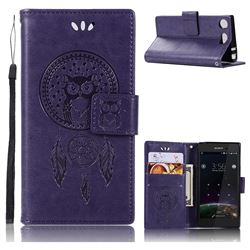 Intricate Embossing Owl Campanula Leather Wallet Case for Sony Xperia XZ1 Compact - Purple