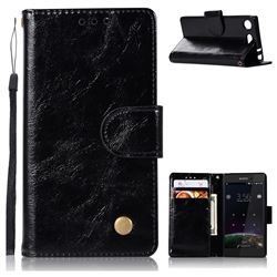 Luxury Retro Leather Wallet Case for Sony Xperia XZ1 Compact - Black