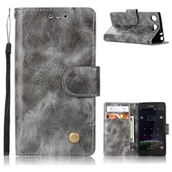 Luxury Retro Leather Wallet Case for Sony Xperia XZ1 Compact - Gray
