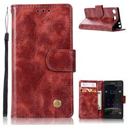 Luxury Retro Leather Wallet Case for Sony Xperia XZ1 Compact - Wine Red