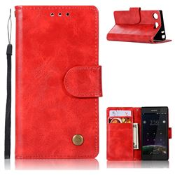 Luxury Retro Leather Wallet Case for Sony Xperia XZ1 Compact - Red