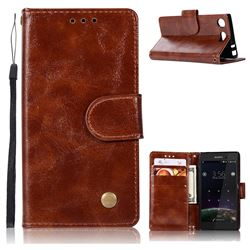 Luxury Retro Leather Wallet Case for Sony Xperia XZ1 Compact - Brown